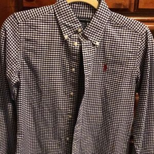 Ralph Lauren Purple and White Small Plaid buttonup